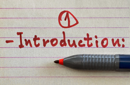 Closeup of a handwritten word Introduction with red felt pen