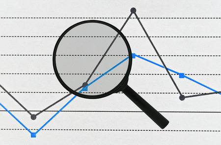 parameter: Simple planar graph in two colors and a magnifier over it Stock Photo