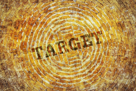 single word: Single word Target written on a yellow abstract background Stock Photo