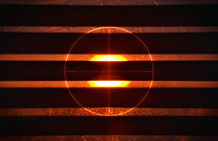backsight: Red circle and bright sunlight in the background