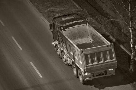 dumptruck: Empty dump-truck in the night viewed  from above Stock Photo