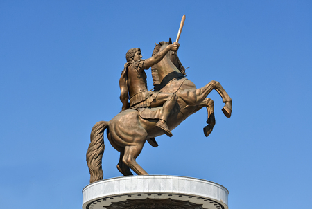 alexander the great: Bronze monument of Alexander the Great in Skopje and clear sky