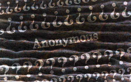 pseudonym: Single word Anonymous surrounded with question marks on dark background