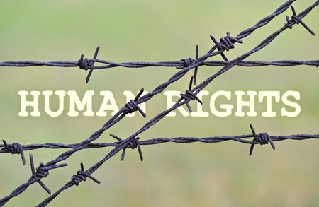 repression: Text Human Rights written under a wire fence with barbs