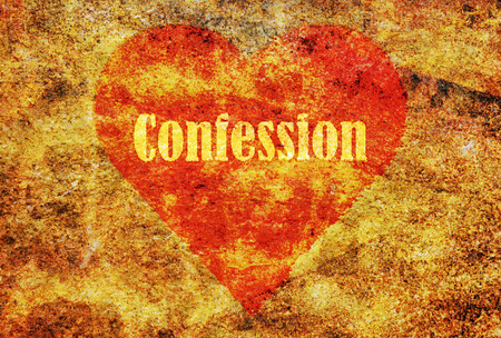 to confess love: Word Confession written on stylized red heart and grunge background