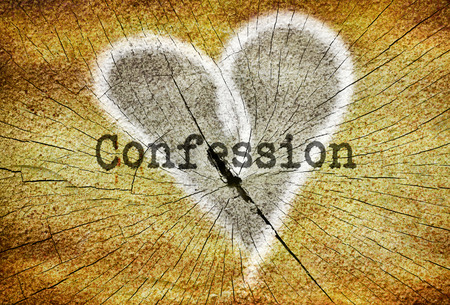 to confess love: Word Confession written over drawn broken heart