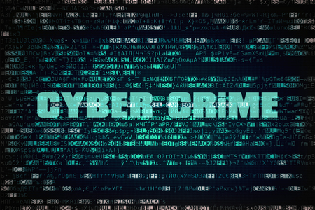 Text Cyber Crime written over unreadable encrypted code Stock Photo