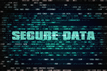 unrecognizable: Text Secure Data written over unreadable encrypted code Stock Photo