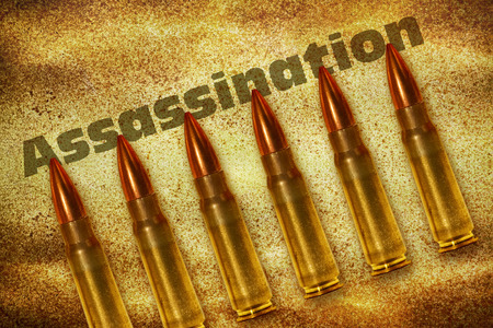 fanaticism: Six bullets and the word Assassination on grunge background