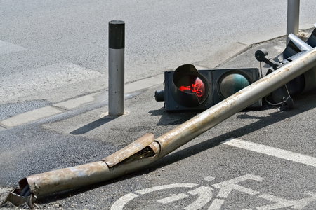 Accident on the street and broken traffic light Stok Fotoğraf