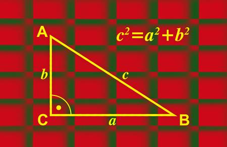 teorema: Ilustración sobre el teorema de Pitágoras con el triángulo dibujado y la fórmula Foto de archivo