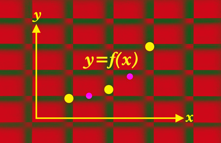 parameter: Stylized graph of a mathematical function on red background