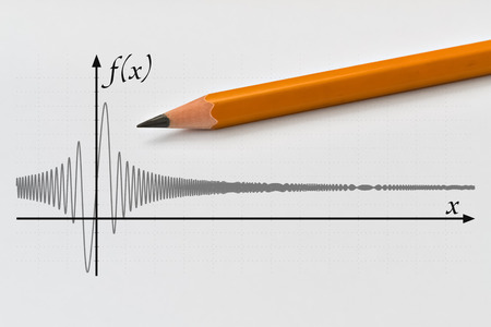 sine: Graph of a fading sine function and yellow pencil