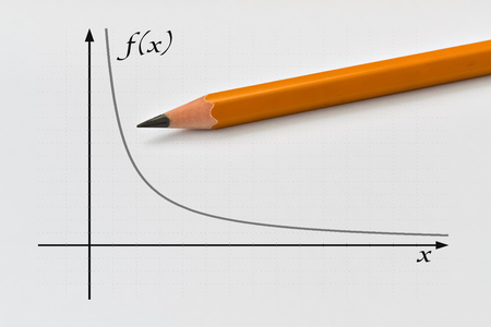 proportional: Graph of a inversely proportional function and yellow pencil