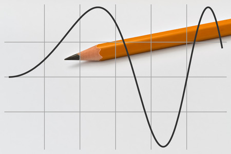 sine: Graph of a part of sine function and yellow pencil