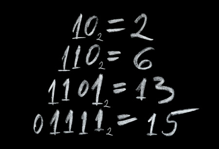 decimal: Simple example representing number conversion isolated on black background