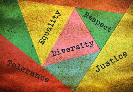 Konzept über die Menschen Vielfalt und Toleranz auf mehrfarbigen Hintergrund Standard-Bild