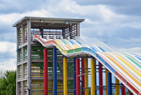 Detail of a big colorful slider in the aqua park