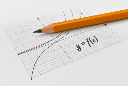 Graphical representation of math functions and a yellow pencil