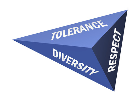 Three sided pyramid and words Tolerance Diversity and Respect on white background Stock Photo