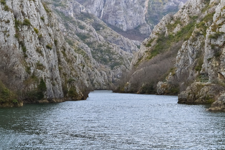 Beautiful canyon named Matka and river near Skopje as a tourist attraction