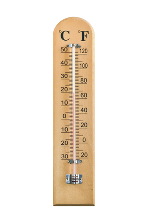 Home wooden thermometer isolated on white background