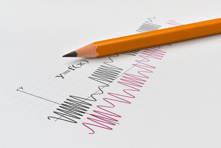 Nahaufnahme des Diagramms von zwei Mathefunktionen und von gelbem Bleistift