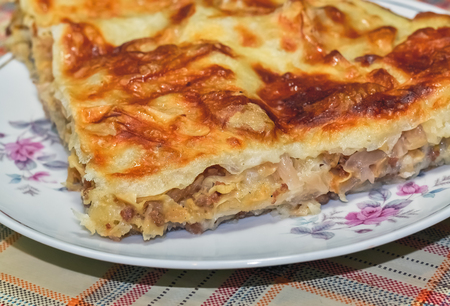 Piece of homemade pie with minced meat and chopped cabbage