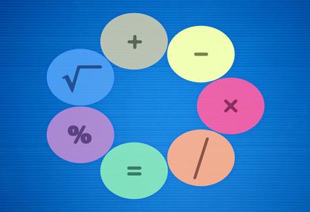 All basic math operators on blue background Stock Photo