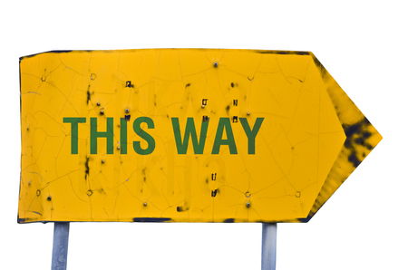 Text This Way written on yellow arrow isolated on white background