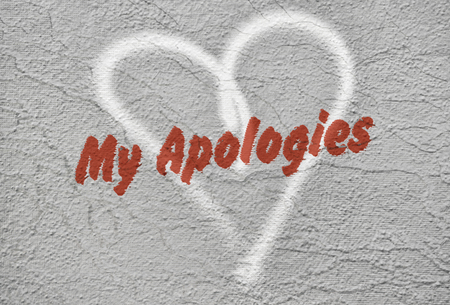 Text My Apologies written in red over a hand drawn heart 写真素材