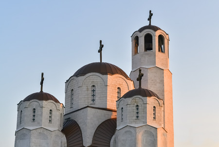 Detail of a new Orthodox church in Skopje during the sunset