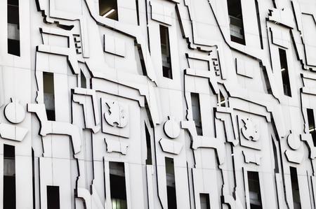 Detail of a modern facade decorated with interesting shapes Stock Photo