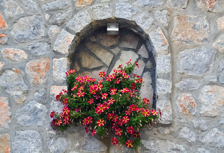 Decorative flower on a stone wall beside the street Stock Photo