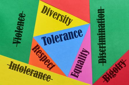 Einige Wörter und ihre Antonyme beziehen sich auf die Liebe und die Toleranz Standard-Bild