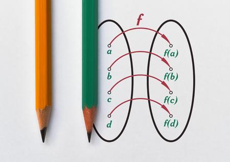 Visualización gráfica de una función biyectiva usando el diagrama de Venn Foto de archivo
