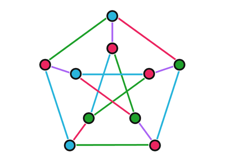 Example of graph called Petersen graph and graph coloring Imagens - 120648618