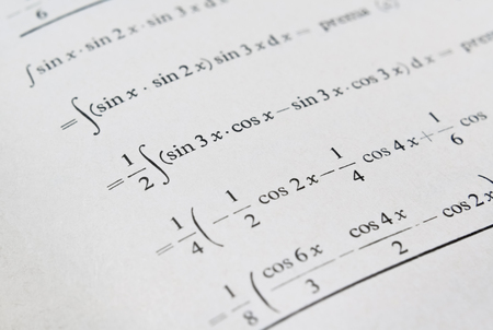 Detail of a textbook with example of solving integrals of trigonometric functions 写真素材