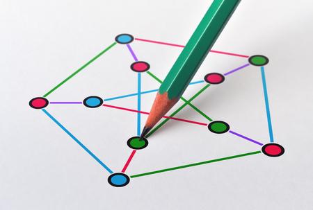 Ejemplo de una gráfica cúbica no plana y coloración de aristas y vértices Foto de archivo