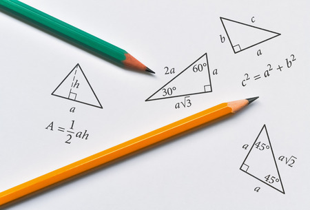 Pencils and triangles with some of their properties on bright background