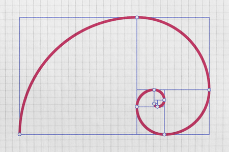 Golden spiral as a graphical representation of the so called golden ratio 写真素材