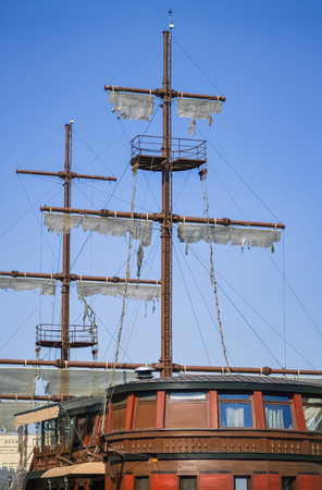Detail of a decorative pirate boat in Skopje 写真素材