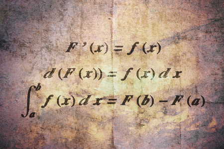 Fundamental theorem in differential and integral calculus on vintage background