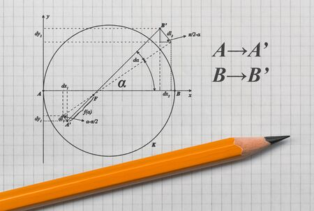 Example of a geometric sketch and a pencil on bright background Reklamní fotografie