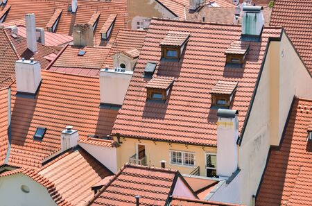 Houses in the village and their roofs made of ceramic bricks Stock Photo
