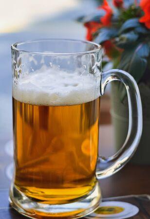 Closeup of a mug full of original Czech light beer Stok Fotoğraf