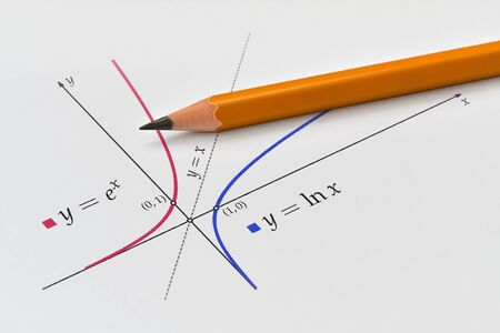 Exponential and natural logarithmic function plotted on bright background Stock Photo