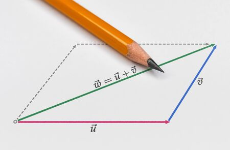 Pencil and a graphical representation of vector summation on bright background Stock Photo