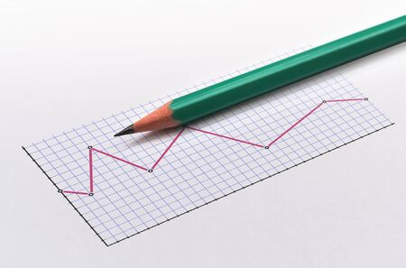 Decreasing line graph and a green pencil on bright background