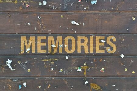 Single word Memories written on a dark wooden background